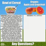 Bowl Of Cereal Vs. Organic Apple & Grapefruit