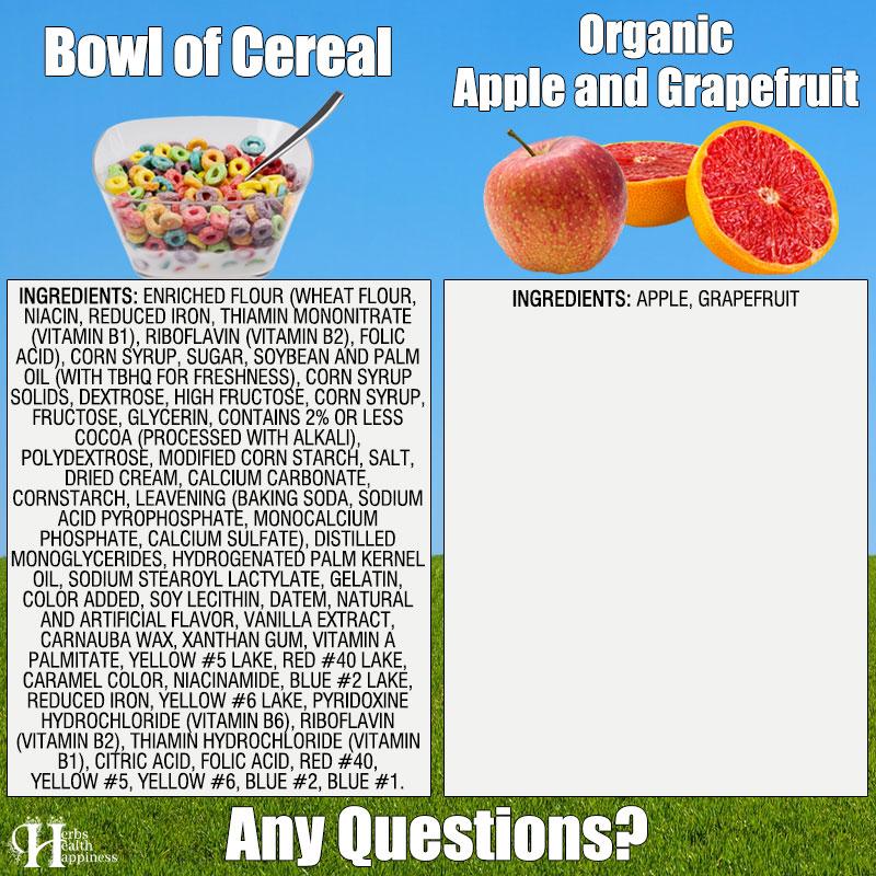Bowl Of Cereal Vs Organic Apple & Grapefruit